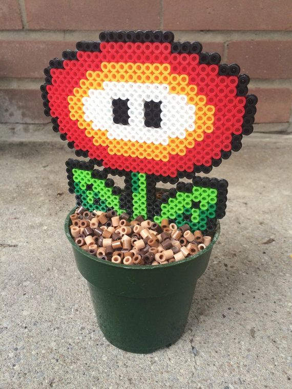 "Pixel (Perler) Super Mario ""Fire Flower"" Plant by theNIFTYnerdette"