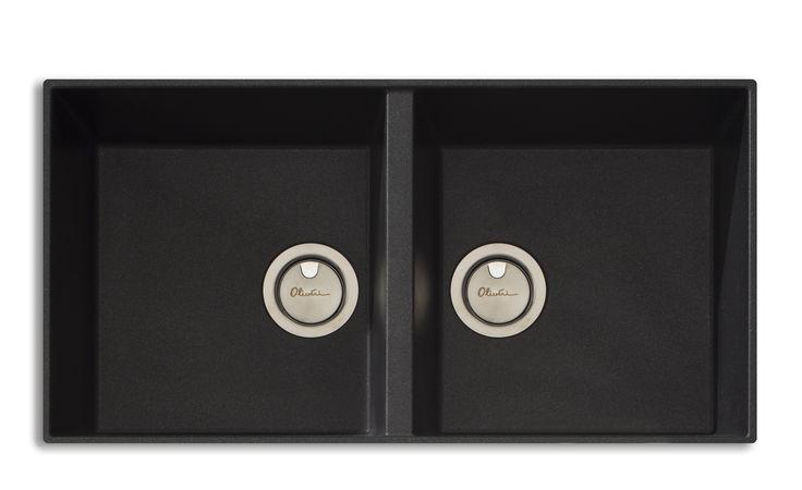 Oliveri Santorini Double Bowl Undermount Black Sink - ABL Tile & Bathroom Centre