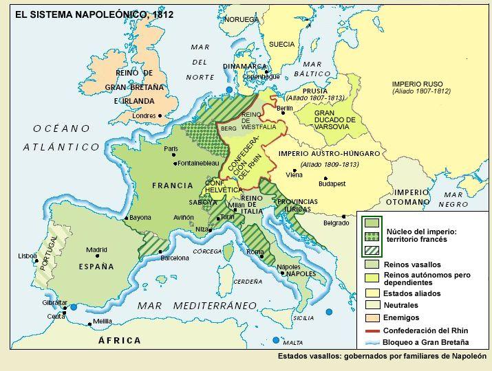 El sistema napoleónico en 1812 y el Bloqueo Continental contra  Gran Bretaña. Este bloqueo terminó fracasando.