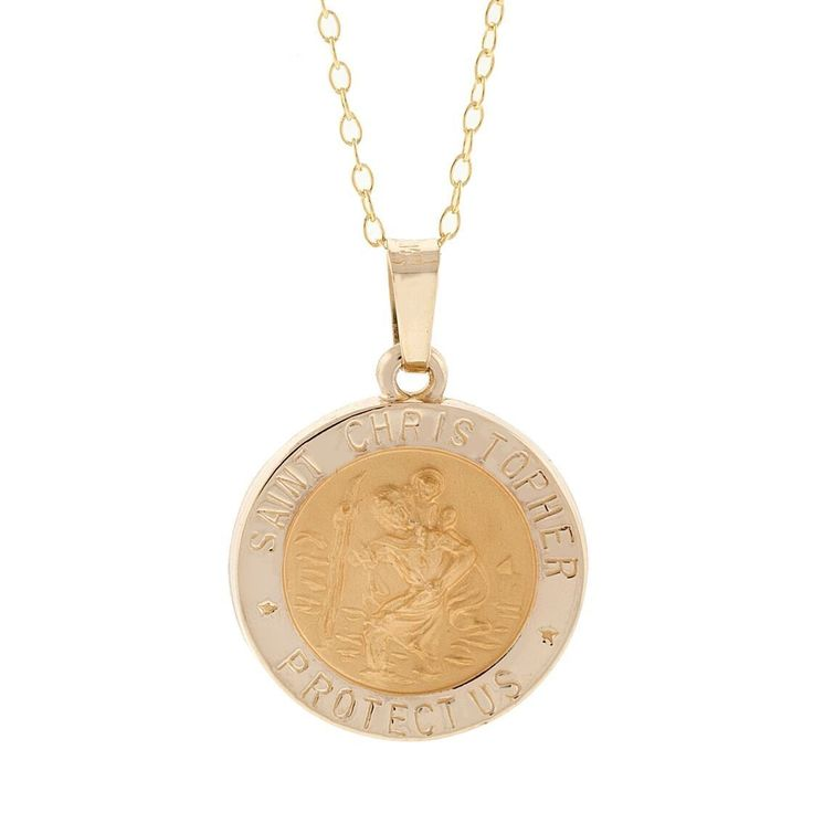 Pori 14k Yellow St. Christopher Medal Necklace