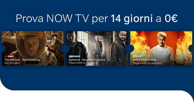 Prova gratis Now TV per 14 giorni. Scopri le offerte cinema, serie tv e intrattenimento della Internet tv di Sky a zero euro e senza alcun vincolo: http://maxisconti.net/codice-sconto-offerta/prova-gratis-now-tv-per-14-giorni