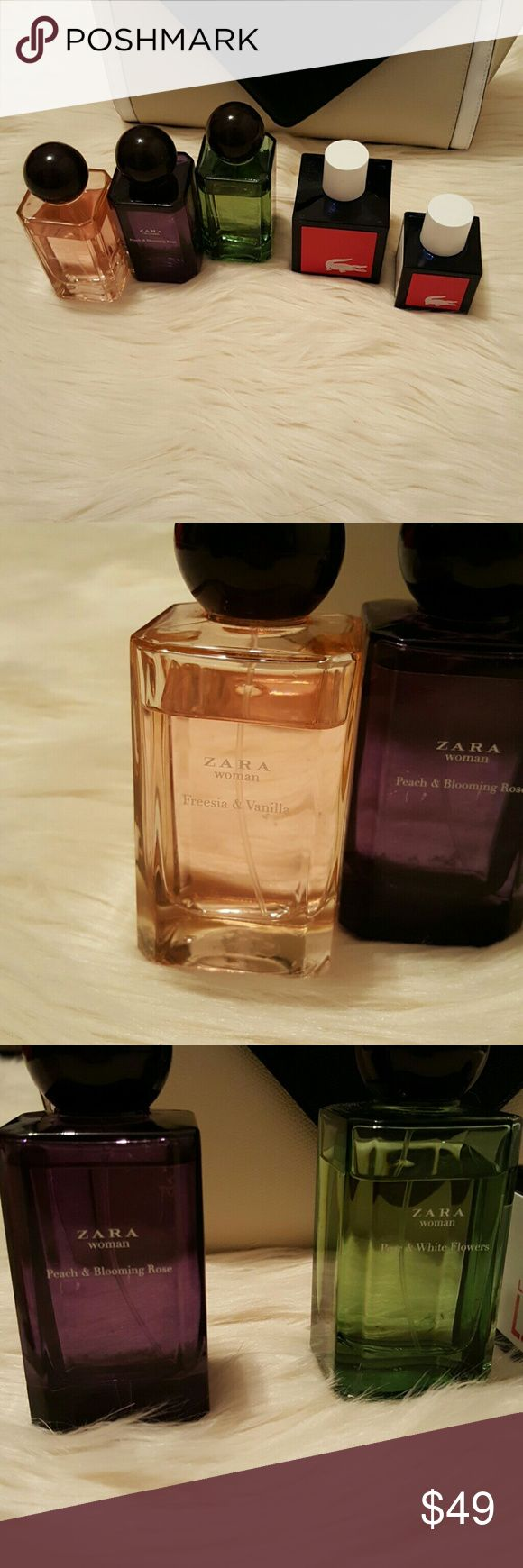 Zara women's perfume and Lacoste men's cologne Check out this great scents bundles for you and him! Zara women's pefume only used a few times! Great fruity flowery smells. -Freesia and Vanilla -Peach and white flowers -Peach and blooming rose Lacoste men's cologne -1 meduim size Live -1 small size Live Zara Other