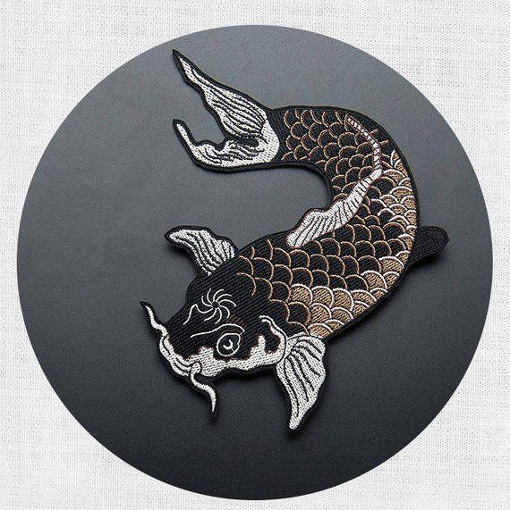 2 Pcs Koi Fish Japanese Sew Iron On Patches Embroidered DIY Applique Black Carp