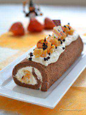 柿のチョコロールケーキ・ハロウィンvr.。と、プリコロチキンの晩ご飯。|レシピブログ