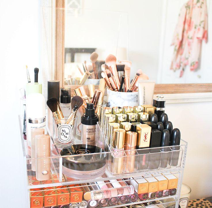 make-up organization, glamboxes, acrylic make-up organizer, makeup organization tips, makeup collection
