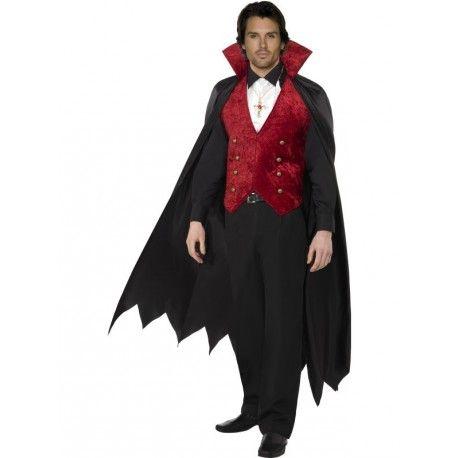 Disfraz De Vampiro Rojo Y Negro para hombre, para Halloween. Men's red and black vampire costume for Halloween.