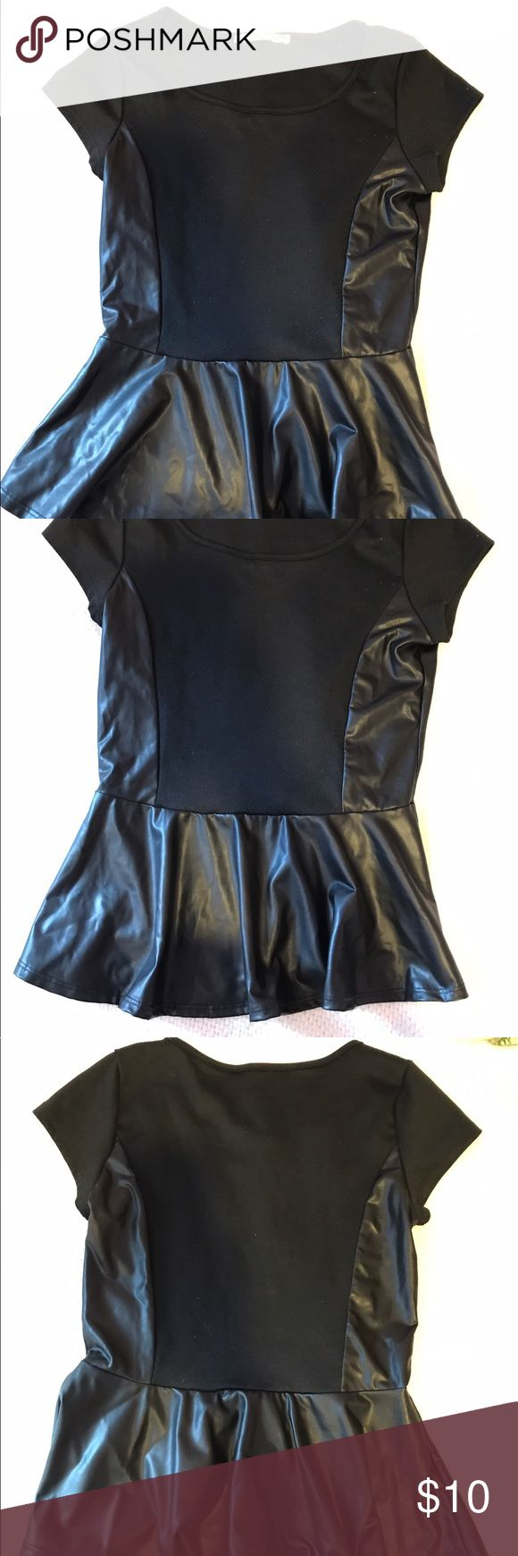 Black leather peplum top Black shirt, past leather (fake leather), great condition. Roller Coaster Tops