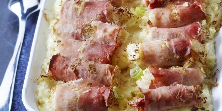 Boodschappen - Zuurkoolrolletjes met rauwe ham uit de oven
