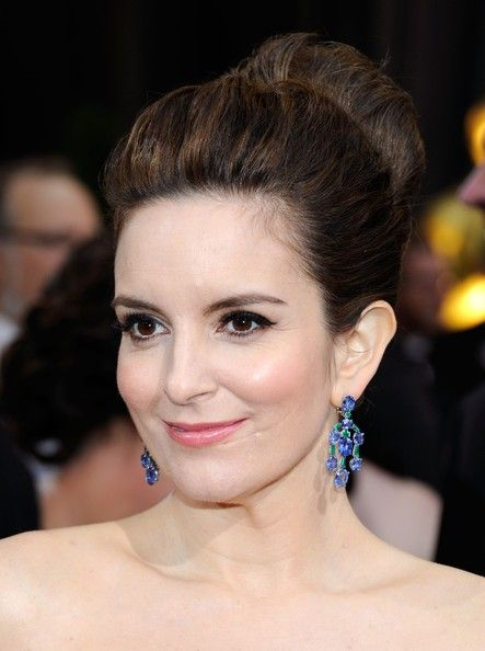 Tina Fey Loose Bun. It's funny because i have a bun in that looks exactly like this right now...
