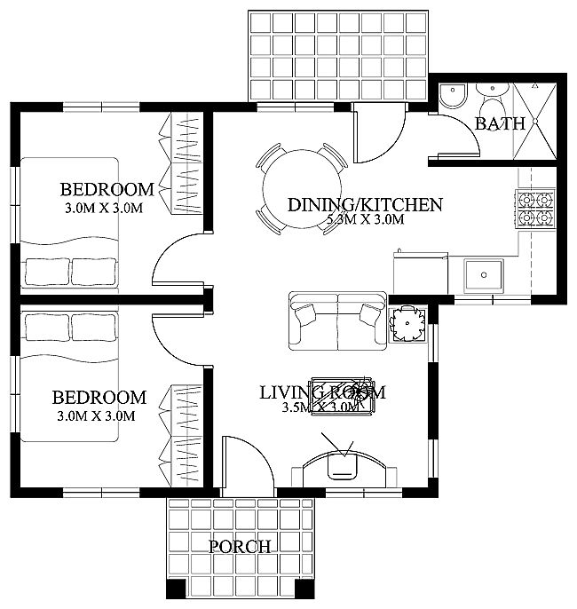 This 2 Bedroom Small House Design Is A Compact House Plan Which Can Be Build In A Small Lot A Meter X Meter Lot Size Can Accommodate This Small House In A