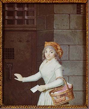 Woman with a Basket in Front of a Door to the Prison  Despite the demure expression created by her huge eyes, this woman also shows adherence to the Revolution through her scarf, similar in shape and color to the Phrygian cap.  Source: mfr 85.174