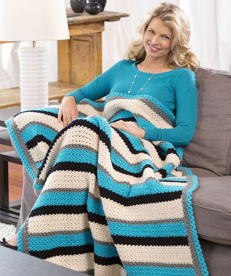 Through Thick & Thin Throw Crochet Pattern #crochet #redheartyarns