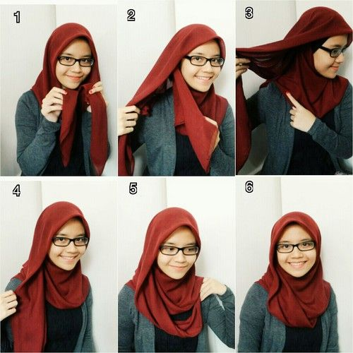 Simple square hijab with glasses
