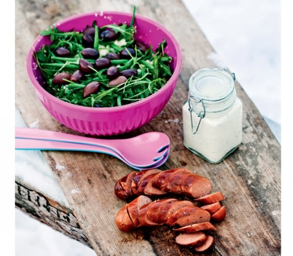 Couscoussallad med grillad het korv | Recept.se