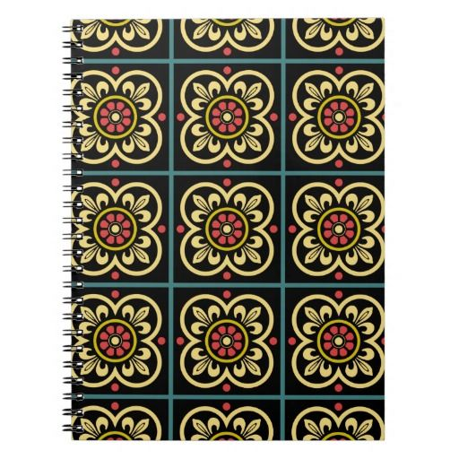 Medieval romanesque red flowers and yellow lillies spiral notebook