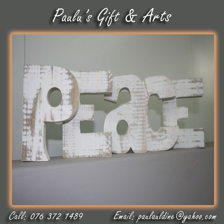 This peace wooden words is available in the store. call us on: 076 372 1489 #Gifts #Arts #Crafts