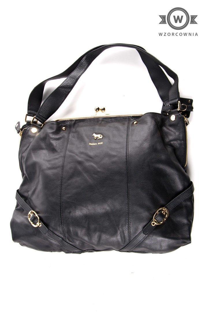 >> #Skórzana czarna #torebka ze złotymi elementami #Emma #Fox #Wzorcownia online