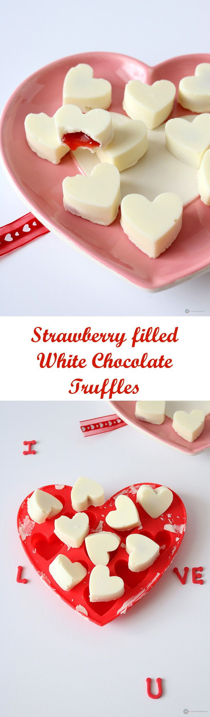 My special Valentine's day treat. Tangy, sweet and jam like strawberry filling in mini heart shaped white chocolate truffles.