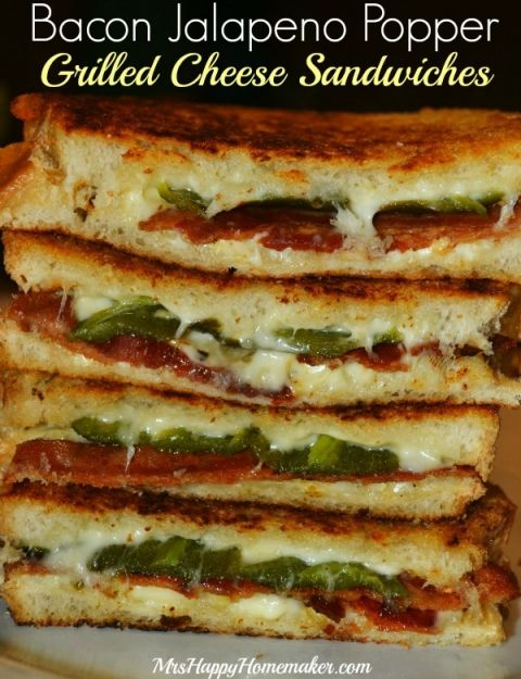 Bacon Jalapeño Popper Grilled Cheese Sandwiches. These. Are. AWESOME! I used thinly sliced sourdough instead of Texas toast and opted for slices of pepper jack instead of grated cheese. Definitely roast the jalapeños beforehand...it makes them softer & it makes them easier to de-seed. These are splurge worthy...550 calories per sandwich, even with using reduced fat cheeses & less bread. Save them for a cheat day!