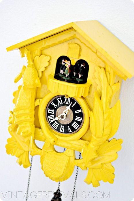 Fun & Colorful!! Cuckoo Clock Makeover @ Vintage Revivals
