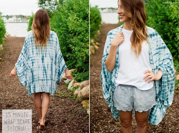 Sew an easy wrap scarf cardigan in 15 minutes with this easy tutorial from sewbon.com!