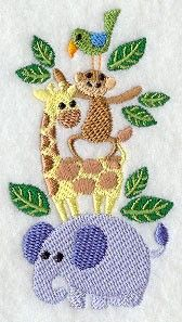Jungle Animal Stack Machine Embroidery Pattern