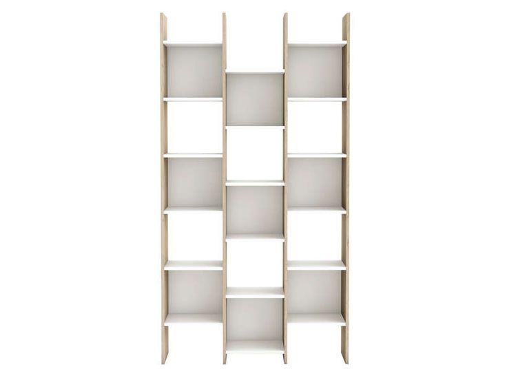 Bibliothèque OPTICAL coloris blanc/ chêne arizona - Vente de Bibliothèque - Conforama