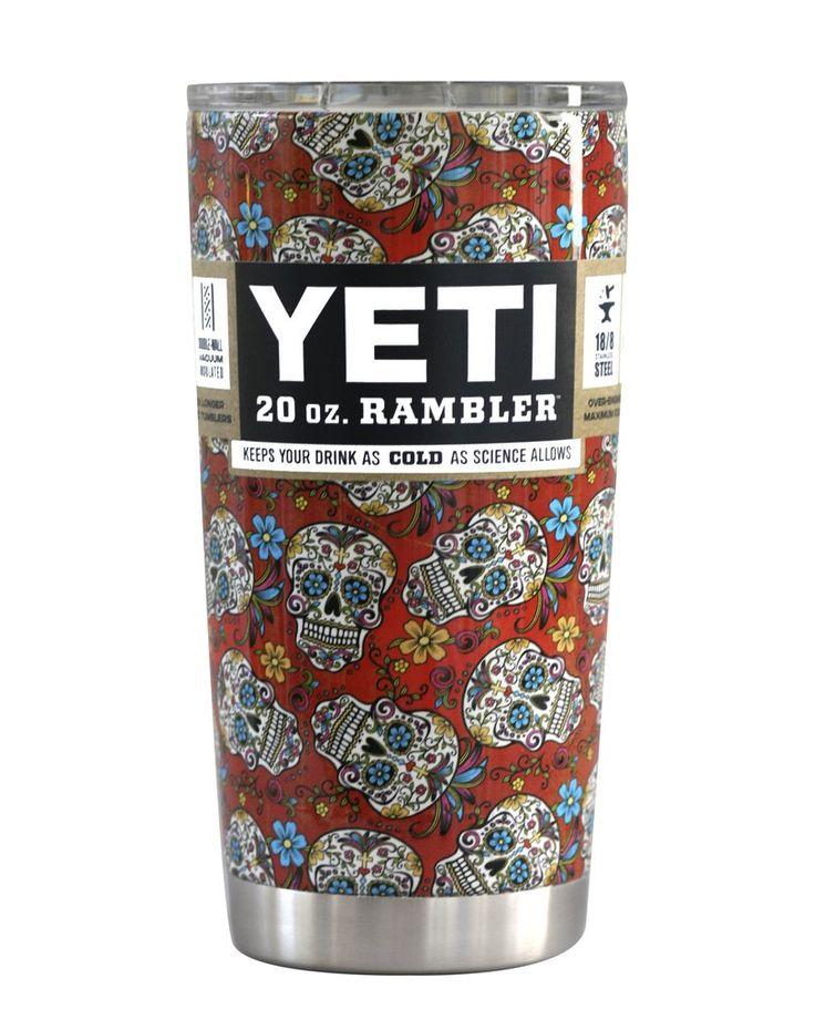 Red Floral Sugar Skull Custom Dipped YETI 20 oz Rambler Tumbler Cup