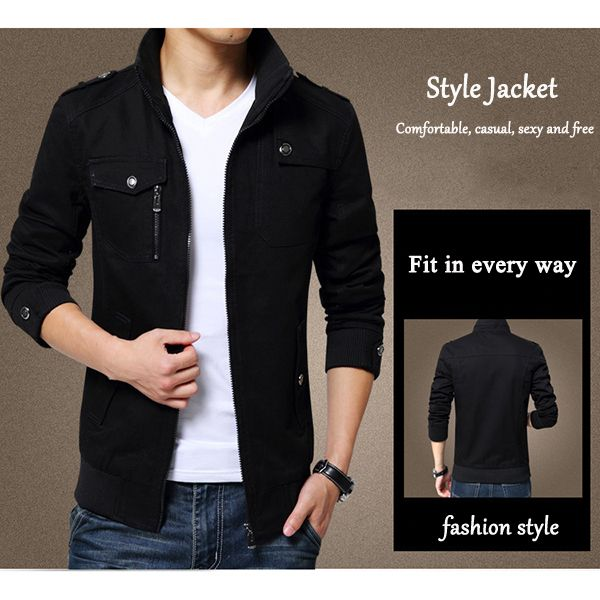 Mens Spring Autumn Stand Collar Multi Pocket Outdoor Jacket Casual Loose Coat