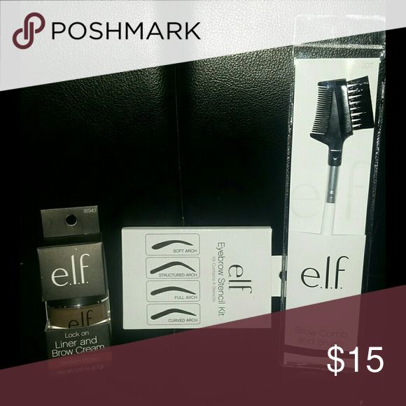 Elf brow cream & liner, brow brush, and stencils - lock on liner and brow cream in medium brown. Can be used as an eyeliner or an eyebrow cream.  -eyebrow brush and comb tool -eyebrow stencil set (4 brow patterns to chose from) ELF Makeup Eyebrow Filler