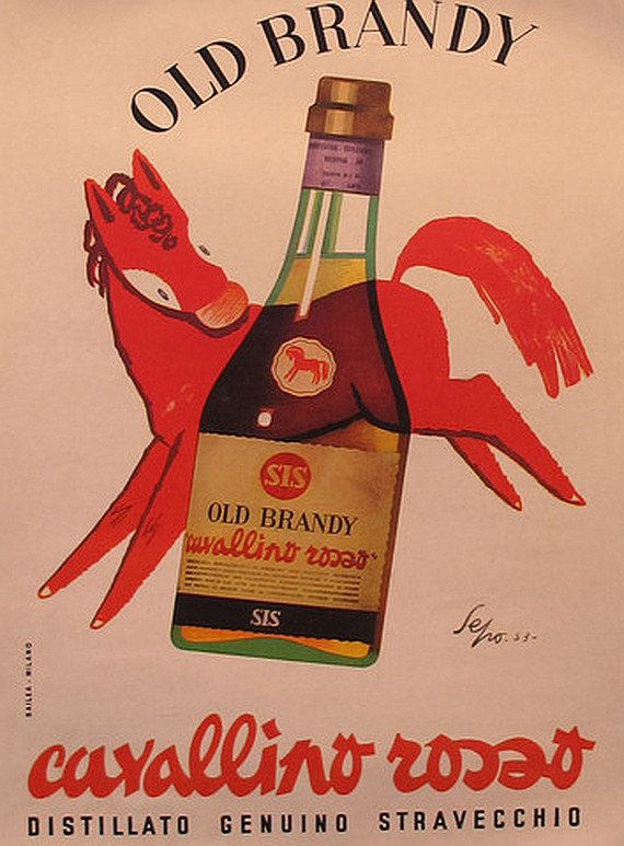 Vintage Italian Posters ~ 1953 Original Italian Poster, Old Brandy Advertisement - Sepo (Severo Pozzati)