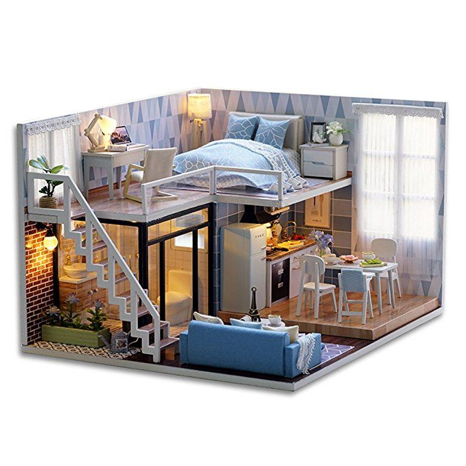 Dollhouse Miniature DIY Blue Bedroom With Furniture 1:24 scale
