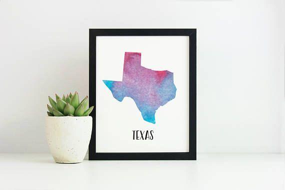 Texas Print Watercolour Printable Texas Artwork Texas Map