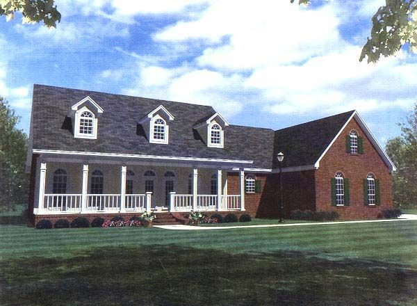 Country Farmhouse Ranch Southern House Plan 59094