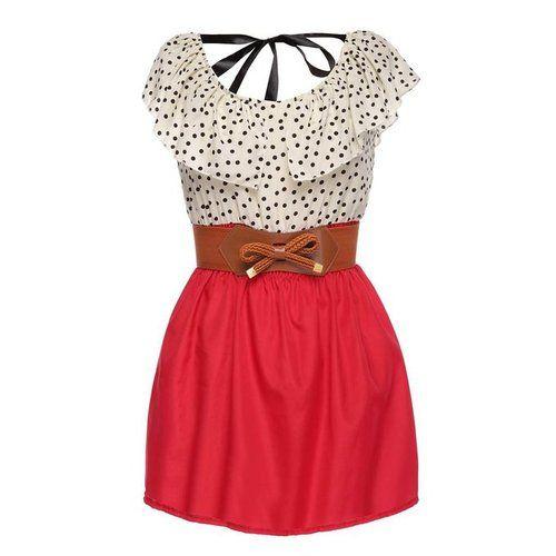Click here:    Zeagoo Women's Fashion High Waist Casual Dots Short Dress with Belt