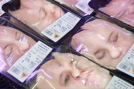 Female Cranial Fillets - Disturbing Meat Cuts Look as if They're Human Flesh