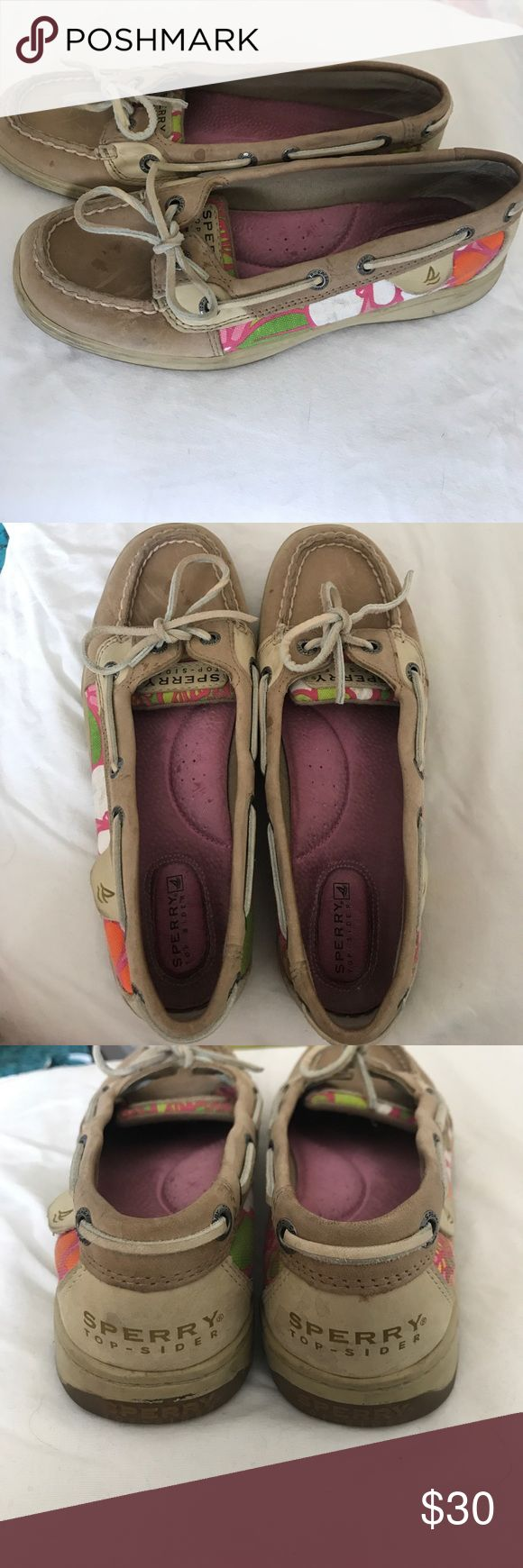 Sperry Top-Sider Angelfish Leather Boat Shoes Tan slip on leather boat shoes with tropical floral designs   Gently worn with natural markings Waterproof Size 6.5 Sperry Top-Sider Shoes