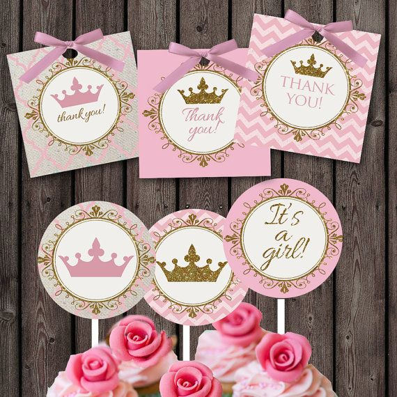 pink gold Baby girl shower cupcake toppers and favor tags, pink little princess…