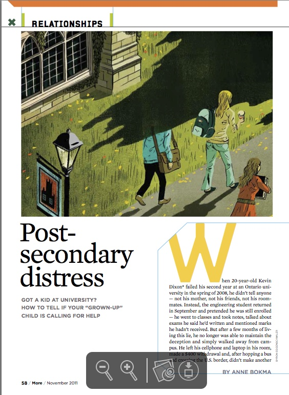 """Gold winner in Spot #Illustration. """"Post- Secondary #Distress"""" by Byron Eggenschwiler published in #MORE, 2011."""