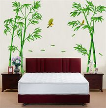 C242 Hot Style Popular TV Setting Wall Room Sitting Room Sofa Decorate Wall Stickers Chinese Wind Stick Bamboo Forest Depths(China (Mainland))