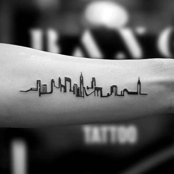 Minimalist Small City Skyline Inner Forearm Tattoos For Guys
