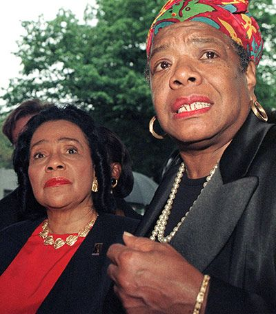Credit: Jon Levy/AFP/Getty Images 1997: Maya Angelou (right) and Coretta Scott King (left), widow of Martin Luther King, on a visit to Betty Shabazz, the widow of civil rights activist Malcom X, at Jacobi Hospital in the Bronx, New York.