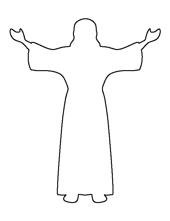 Jesus pattern. Use the printable outline for crafts, creating stencils ...