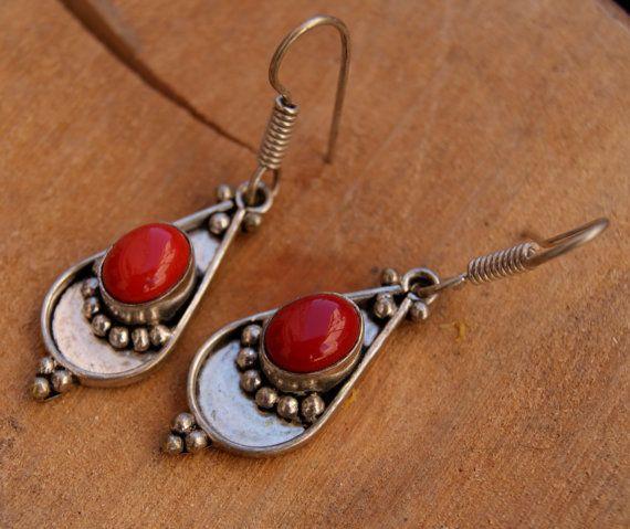 Orecchini in diaspro rosso argento orecchini di di ShockedShop