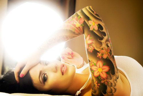 Full sleeve flowers tattoo of bright japanese cherry for Shading background tattoo