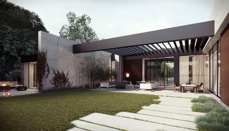 diseño de jardines modernos hormigon