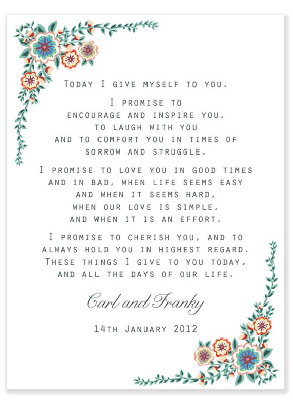 Oh wow, I just found this vow online the other day and decided this is what I want to use... and now here it is on Pinterest. :)