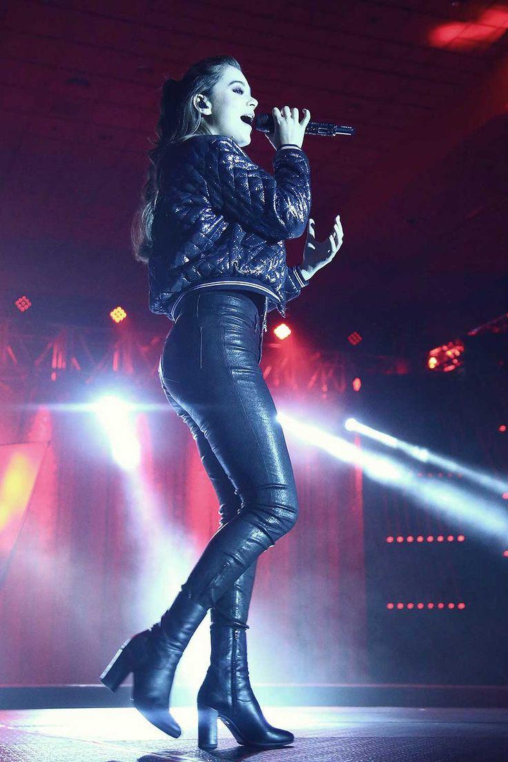 Hailee Steinfeld wearing leather pants, leather skinny pants.