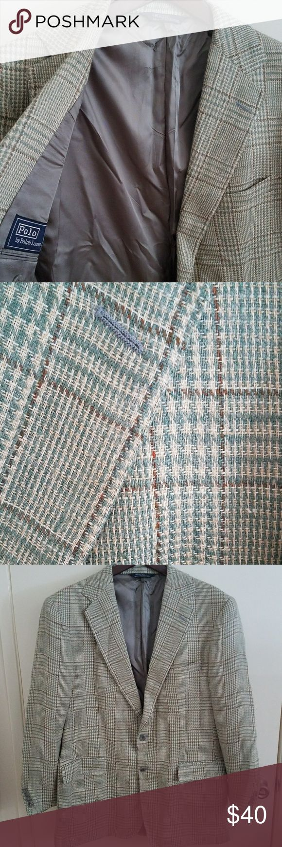 """Ralph Lauren blazer jacket 42 L greenish plaid NWD Authentic Polo Ralph Lauren woven jacket size 42 L Purchased from Nordstrom's  New with defects, Jacket is brand-new, last photo inside next to RL tag nicked by an iron. NBD   Perfect all year round jacket  Size measurements -   Armpit to armpit is 23"""" across  Top of collar to bottom 33""""  This is in like new condition, worn once, great look. Message me with any questions  I will ignore all low-ball offers, no trades thanks  Lower price if…"""