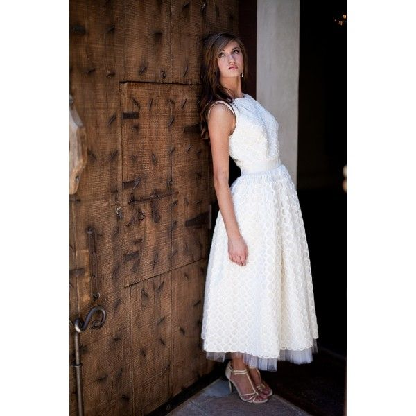 Ball Gown Bateau Neckline Tea Length Silk Lace Ivory Wedding Dress. #Sleeveless, #Empire, #Silk. #Lace, #Ivory, #Wedding, #Dress, #Bridal. Only $310.99